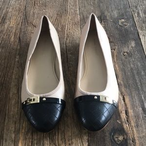 Marc Fisher Nude Black Leather Flats size 8.5